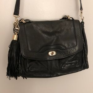 Cynthia Rowley Black Leather Tasseled Bag